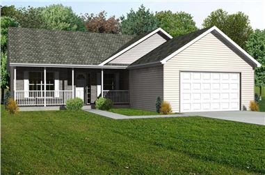 3-Bedroom, 1508 Sq Ft Country House Plan - 148-1087 - Front Exterior