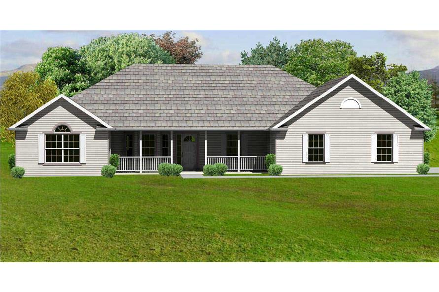 This is a computer rendering of these Country Ranch Home Plans