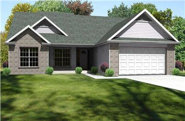 This is the front rendering of this set of Traditional Ranch Homeplans.