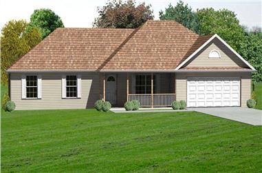 3-Bedroom, 1574 Sq Ft Country Home Plan - 148-1092 - Main Exterior