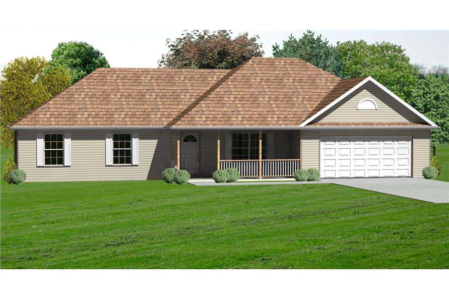 This image shows the front side of these Ranch Homeplans.
