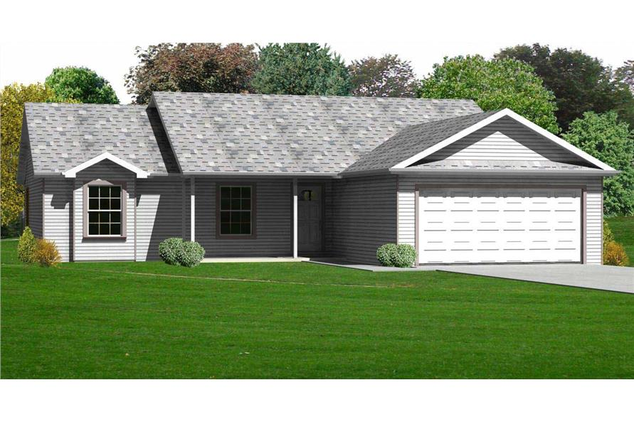 This is the front elevation for these Ranch Houseplans.