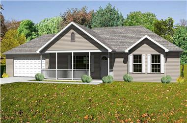 3-Bedroom, 1380 Sq Ft Country Home Plan - 148-1098 - Main Exterior