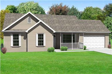 3-Bedroom, 1326 Sq Ft Country House Plan - 148-1099 - Front Exterior