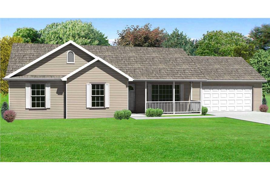 This is the computerized rendering of these Ranch House Plans.