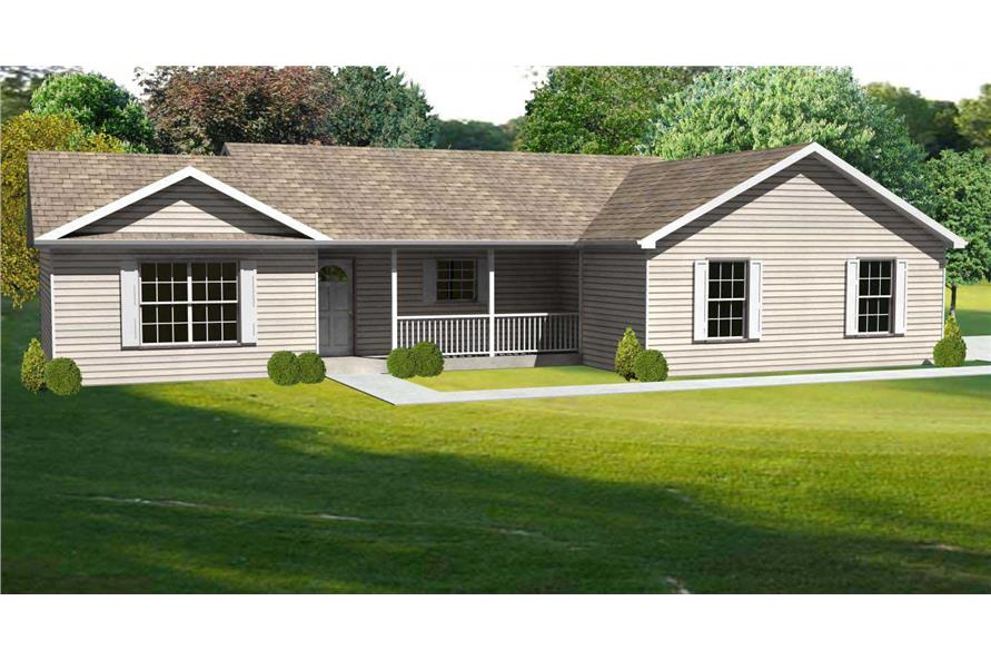 This is another computer rendering of another set of Ranch House Plans.