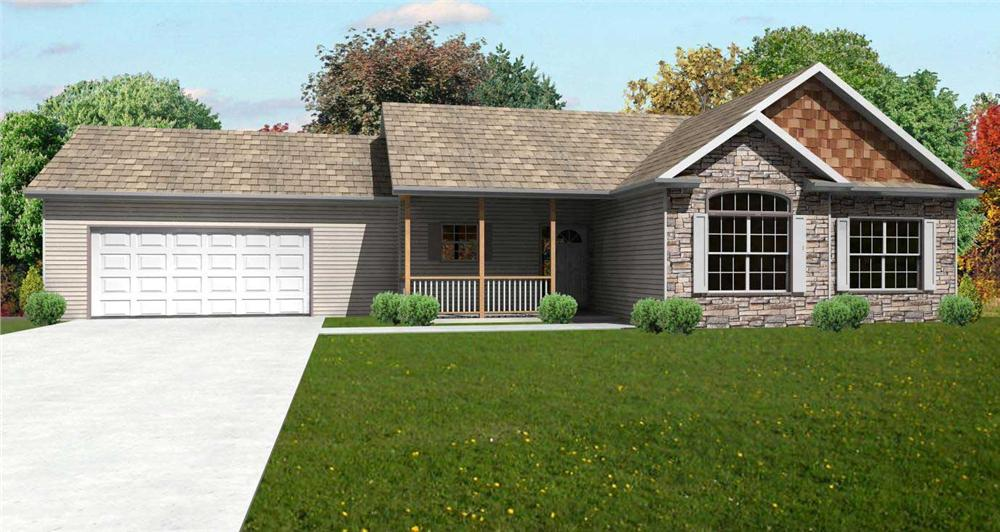 This image is a great computer rendering of these Ranch Houseplans.
