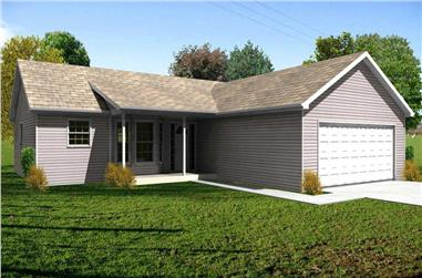 3-Bedroom, 1302 Sq Ft Country Home Plan - 148-1102 - Main Exterior