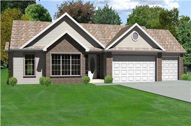 3-Bedroom, 1516 Sq Ft Country Home Plan - 148-1103 - Main Exterior