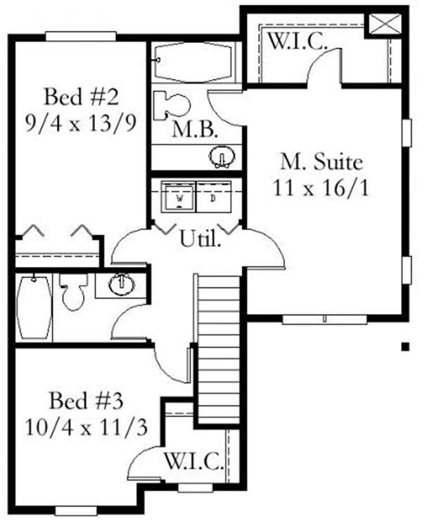 This image shows the master suite and 2 bedrooms.