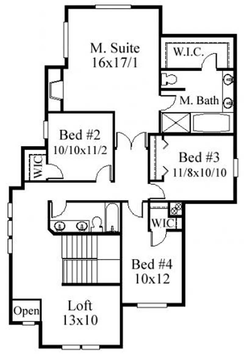 This image shows the master bedroom and bath.