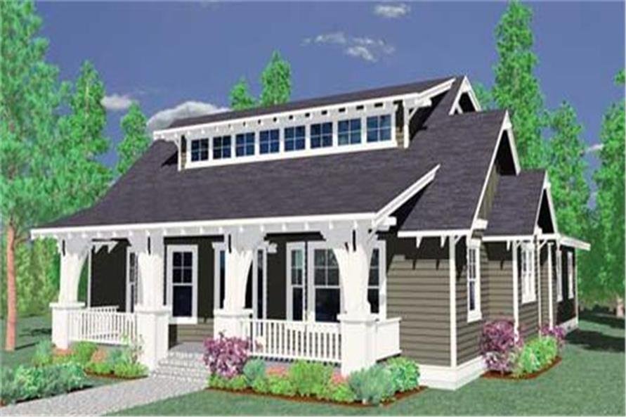 149-1009: Home Plan 3D Image-Front Door