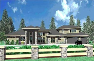 3-Bedroom, 3708 Sq Ft Contemporary Home Plan - 149-1022 - Main Exterior