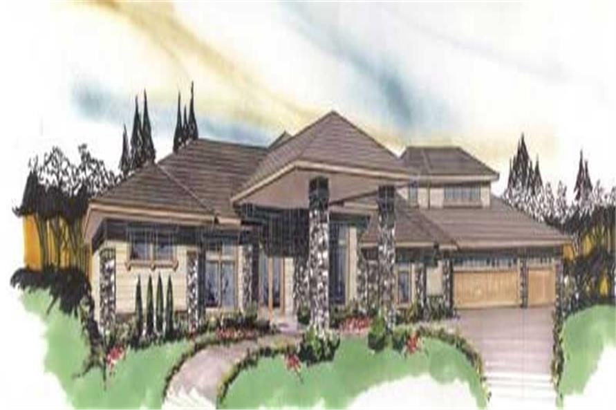 Home Plan Front Elevation of this 3-Bedroom,3708 Sq Ft Plan -149-1022