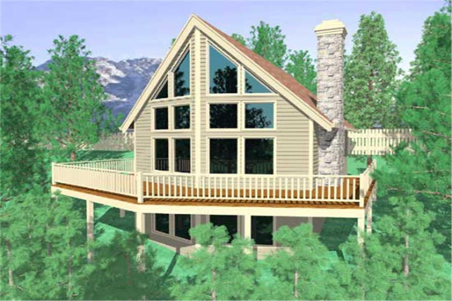 This is the front elevation for these Vacation House Plans.