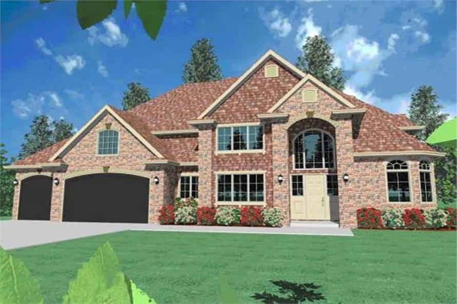 4-Bedroom, 4187 Sq Ft Country House Plan - 149-1034 - Front Exterior