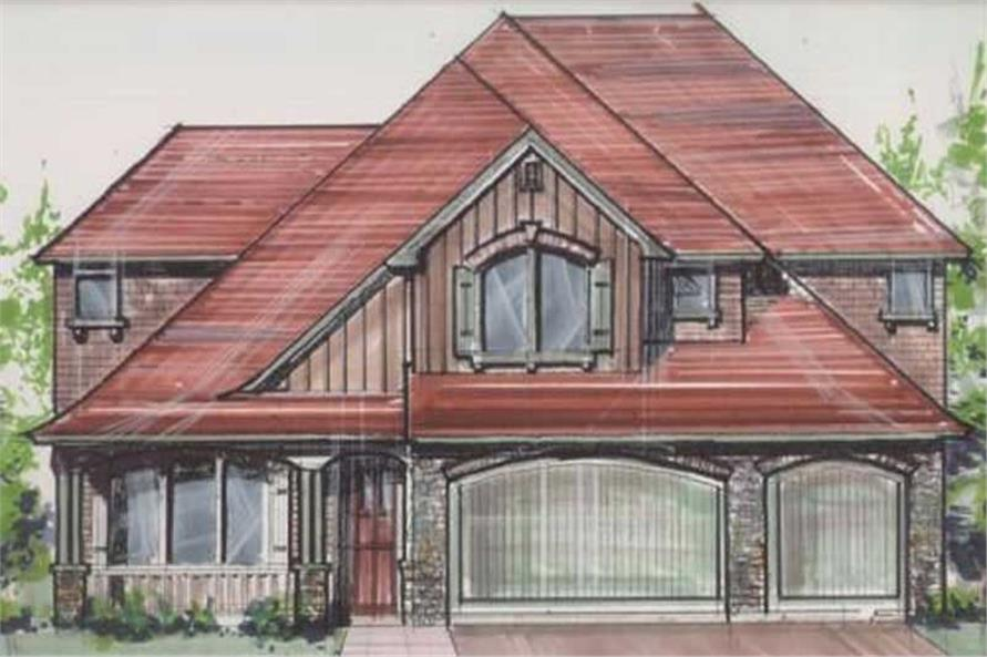 Home Plan Front Elevation of this 4-Bedroom,3308 Sq Ft Plan -149-1039
