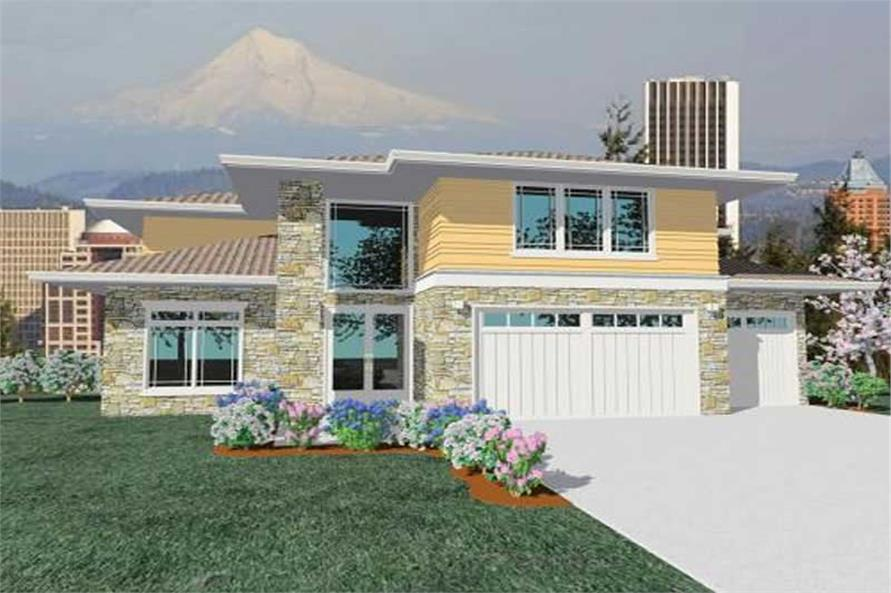 5-Bedroom, 4005 Sq Ft Contemporary House Plan - 149-1046 - Front Exterior