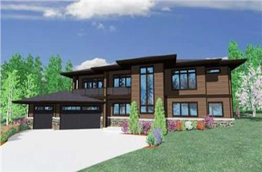 3-Bedroom, 2898 Sq Ft Contemporary House Plan - 149-1051 - Front Exterior
