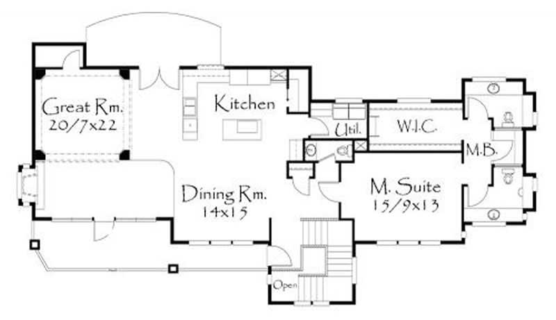 149-1051: Floor Plan Main Level - This image shows the living and dining areas.