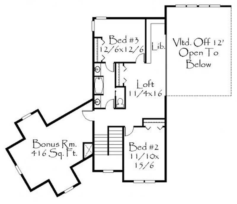 This image shows the loft and 2 other bedrooms.