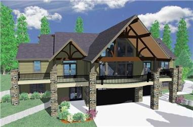 4-Bedroom, 3475 Sq Ft Country House Plan - 149-1055 - Front Exterior