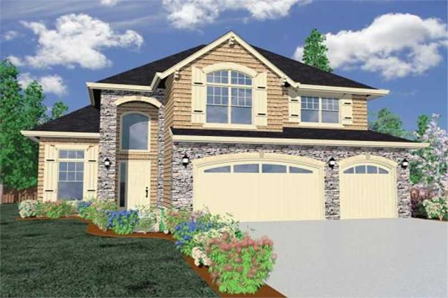 Home Plan Front Elevation of this 4-Bedroom,4413 Sq Ft Plan -149-1061