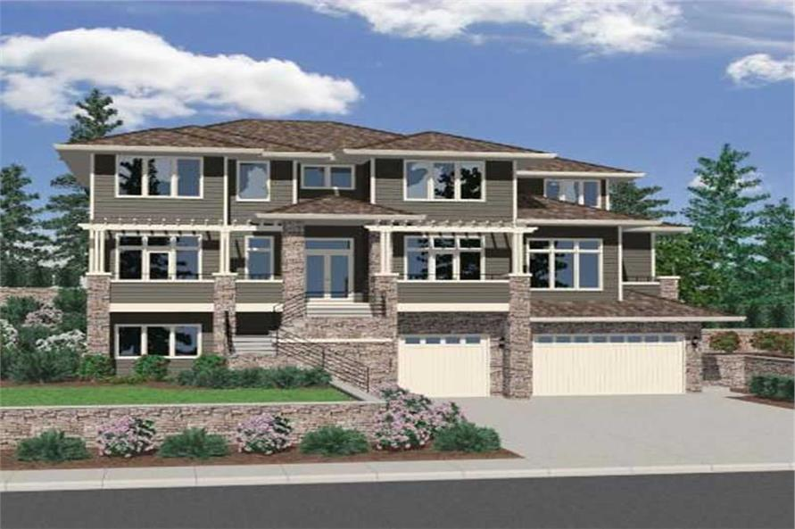 4-Bedroom, 3407 Sq Ft Craftsman House Plan - 149-1065 - Front Exterior
