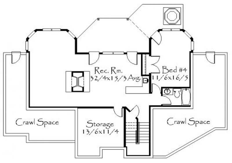 This image shows the rec. room along with storage areas.