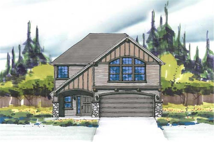 This is the front elevation for these European Tudor Home Plans.