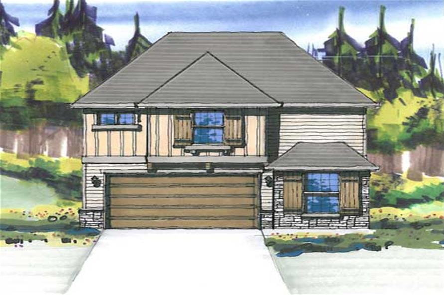 This is the front elevation for these Bungalow House Plans.