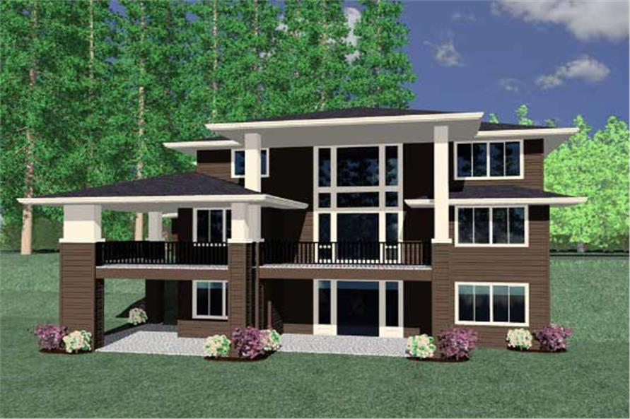 This is a computerized rendering for these Prairie House Plans.