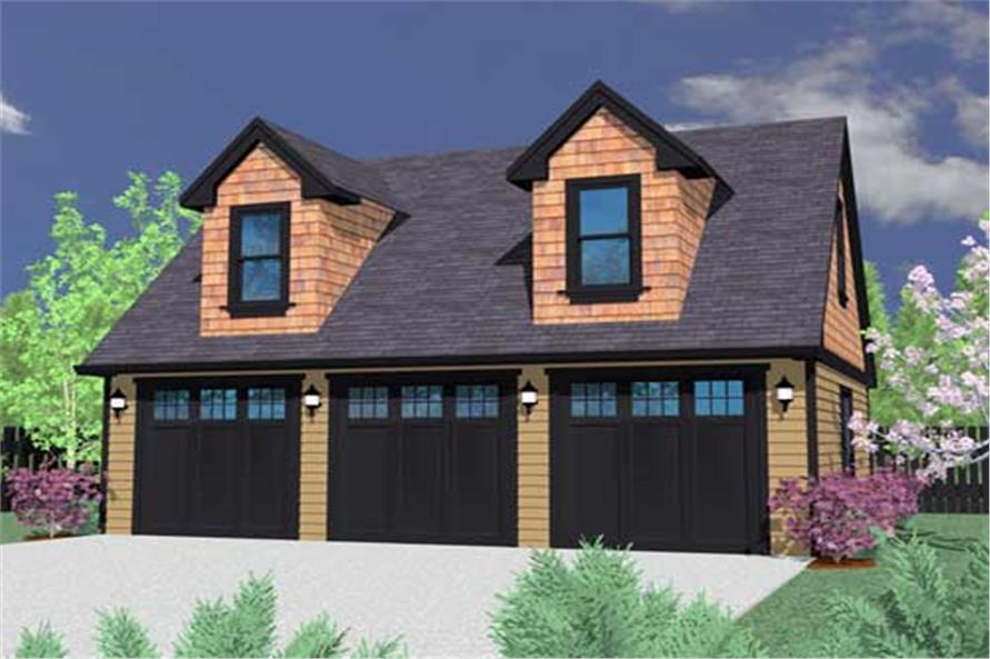 1-Bedroom, 680 Sq Ft Garage w/Apartments Home Plan - 149-1110 - Main Exterior