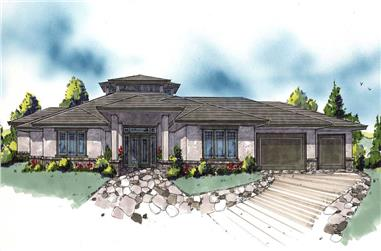 4-Bedroom, 3981 Sq Ft Prairie Home Plan - 149-1121 - Main Exterior