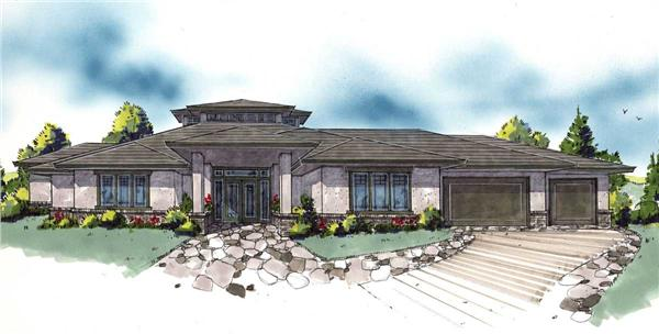 This is a color rendering of these Prairie House Plans.