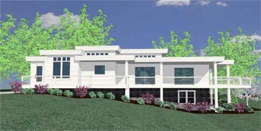 This is the front elevation for these Prairie House Plans.