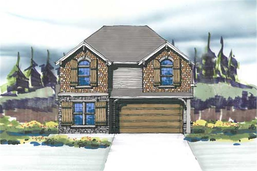 This is the front elevation for these Arts and Crafts Home Plans.