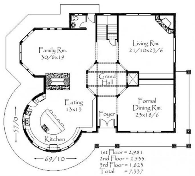 Country House Plan - 4 Bedrms, 5 Baths - 7337 Sq Ft - #149-1130