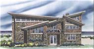 This is the front elevation for these Prairie Style House Plans.