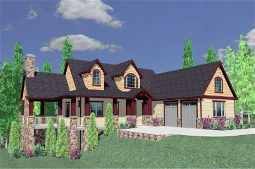 This is a 3D rendering for these Country Home Plans.