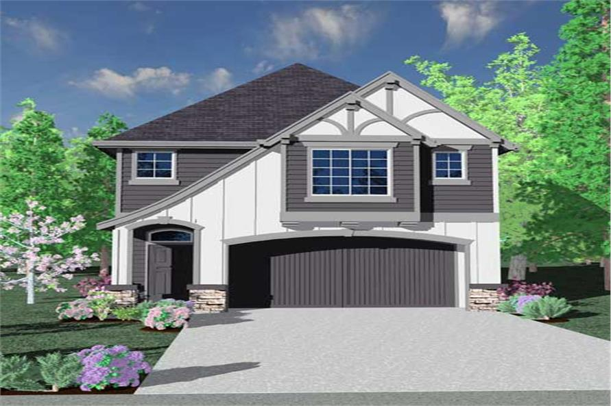 This is the front elevation for these Tudor House Plans.