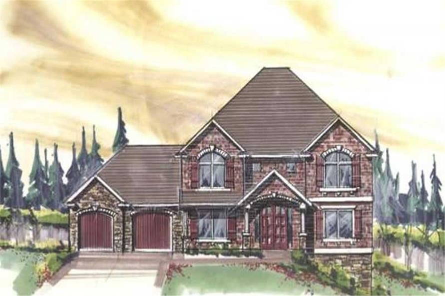 Home Plan Front Elevation of this 4-Bedroom,3892 Sq Ft Plan -149-1145