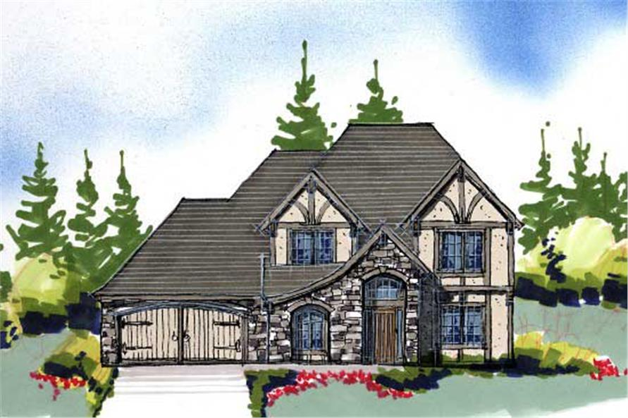 This is an artist's rendering of these Tudor House Plans.