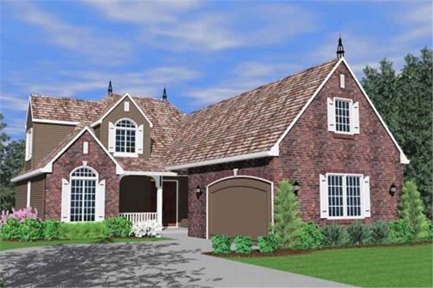 Home Plan Front Elevation of this 3-Bedroom,2157 Sq Ft Plan -149-1166