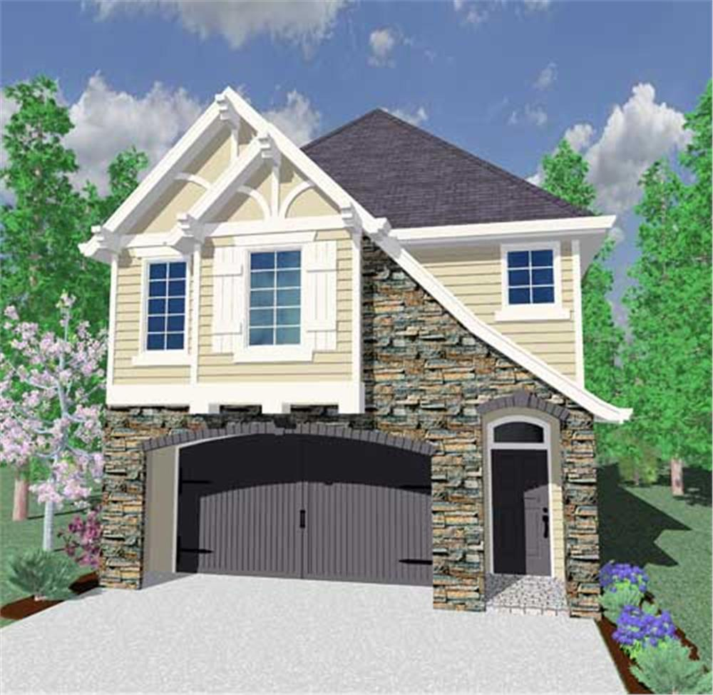 This is the front elevation of these Tudor House Plans.