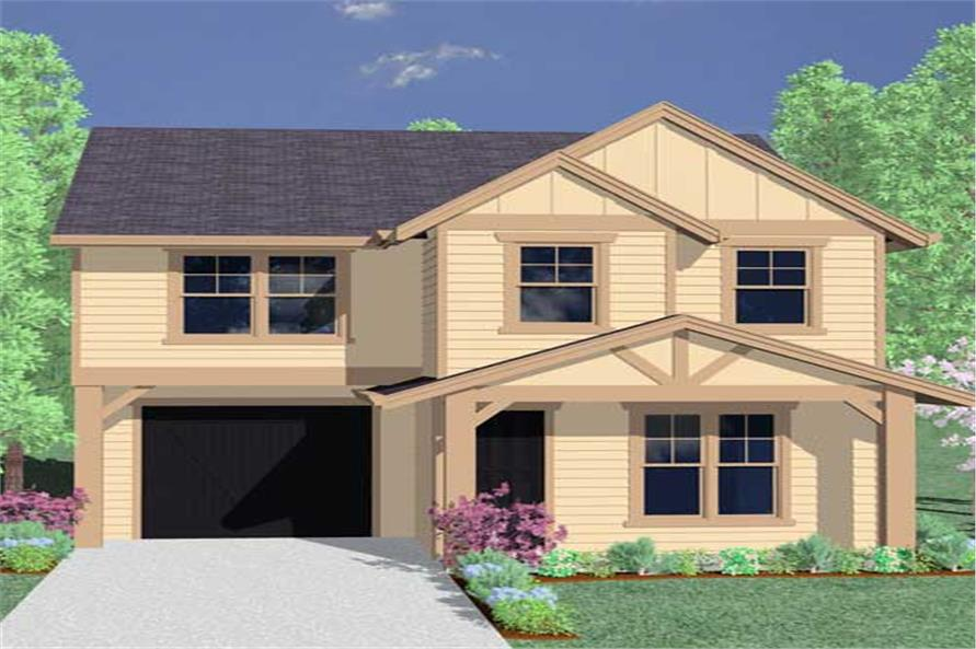 This is a computerized rendering for these Craftsman House Plans.