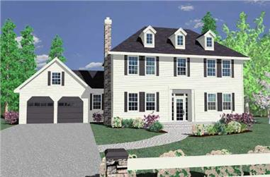 4-Bedroom, 2054 Sq Ft Colonial House Plan - 149-1176 - Front Exterior