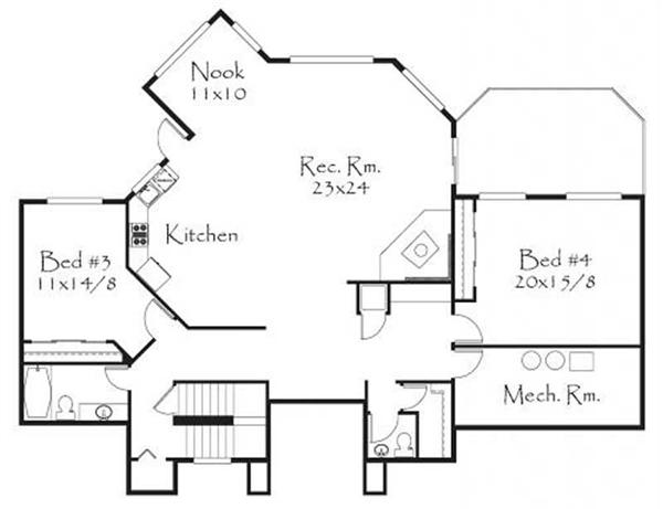 This image shows the rec. room along with 2 bedrooms.