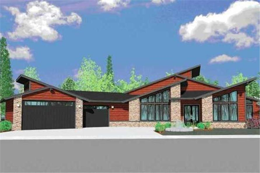 4-Bedroom, 3447 Sq Ft Contemporary House Plan - 149-1182 - Front Exterior