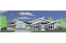 This is a 3D rendering of these Contemporary House Plans.